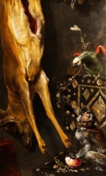 Фрагмент картины Франса Снейдерса «Натюрморт с оленем, дичью, виноградом и артишоками» с изображением португальского стул