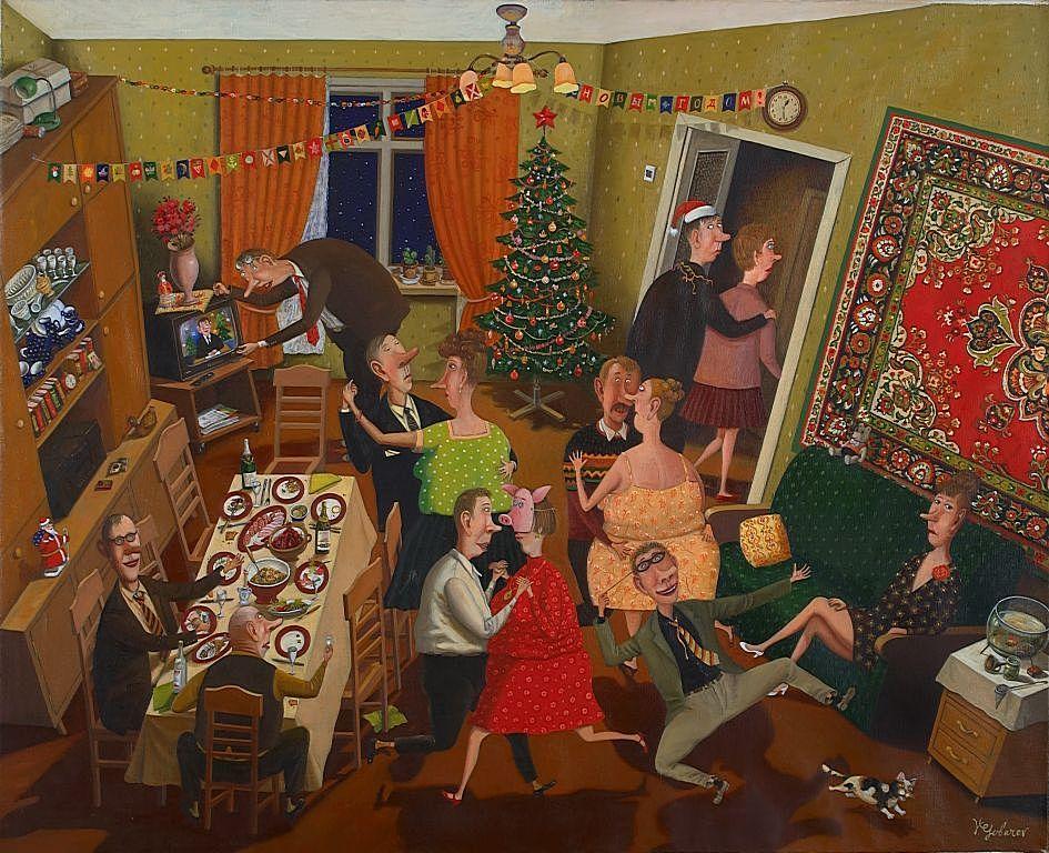 """Картина В.Губарева """"Празднование Нового года"""""""