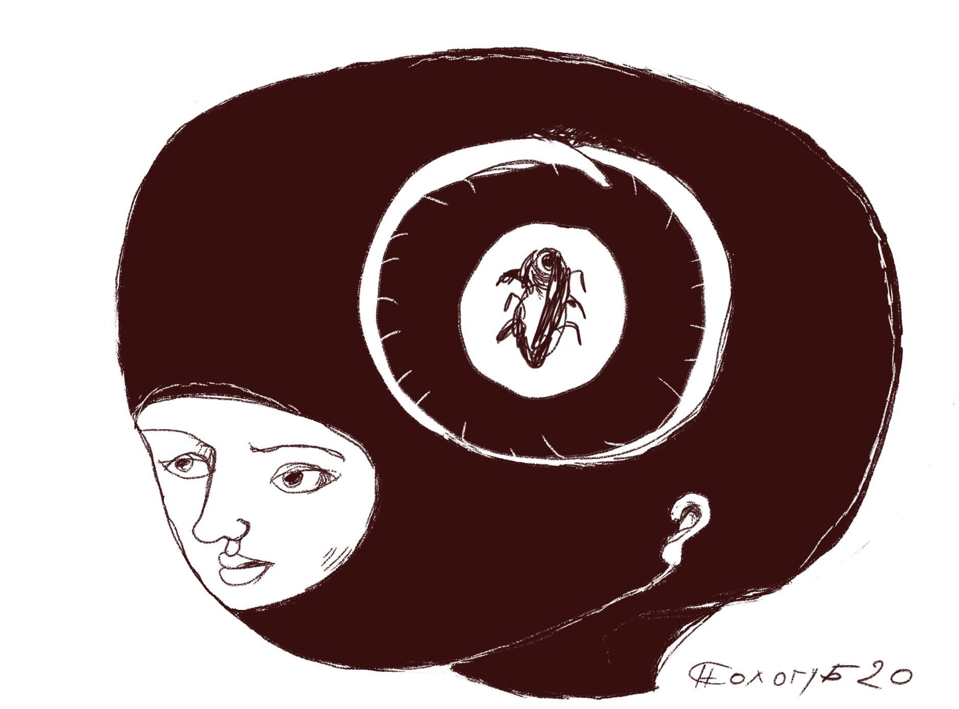 """Рисунок Николая Сологуб, """"образ таракана без головы и мысли о нём без головы, потому что головы им не нужны, так-как они"""