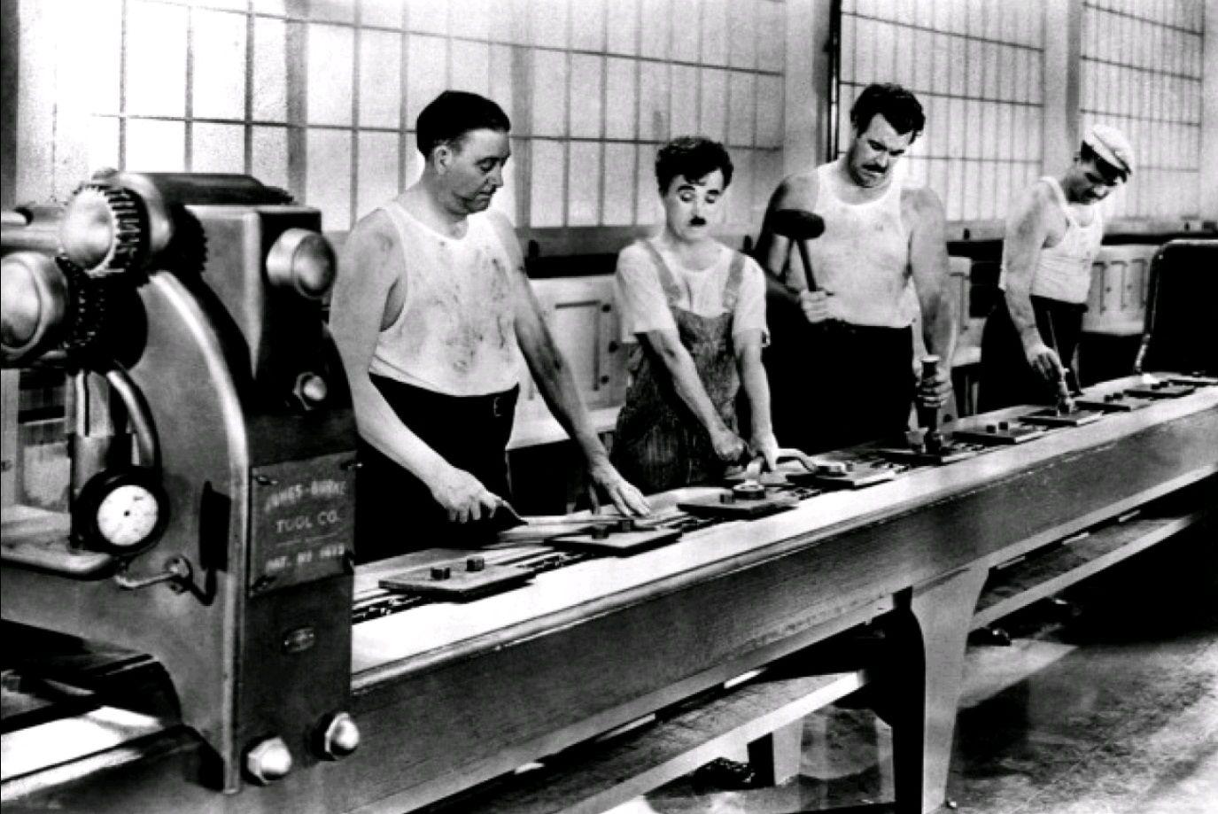 Кадр из фильма «Новые времена» (Modern Times, 1936, США)