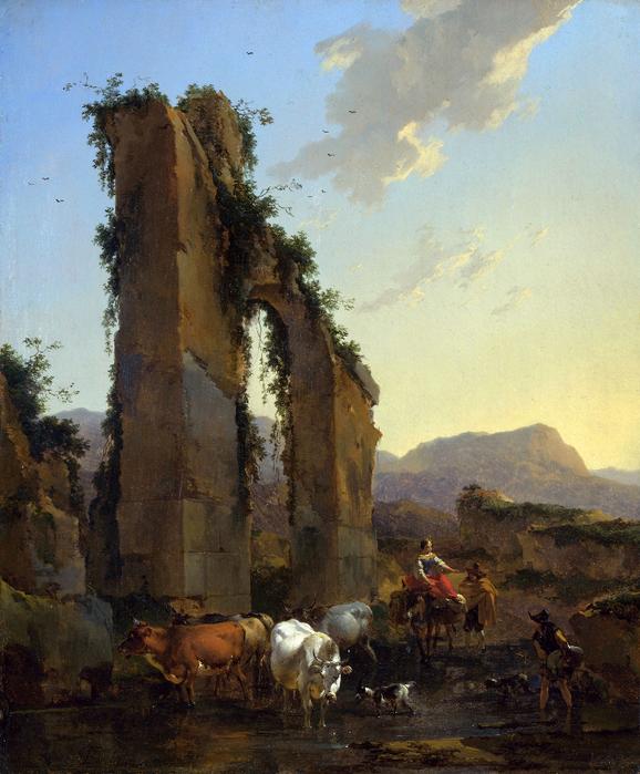 Берхем. «Итальянский речной пейзаж с пастухами возле руин Амфитеатра» (XVII в.)