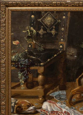 Фрагмент картины круга Франса Снейдерса «Кладовая» с изображением португальского стула и винограда в левой части БСИИ ASG