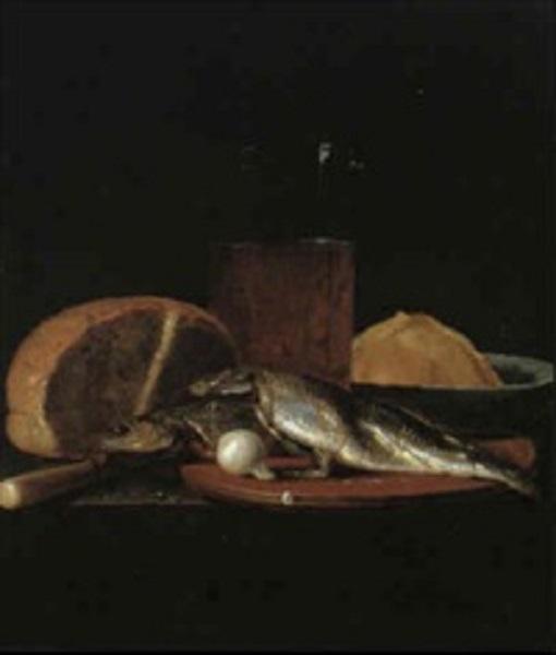 Люттихейс И. Натюрморт с бокалом пива и буханкой хлеба Дерево, масло39,5 x 33.5 см