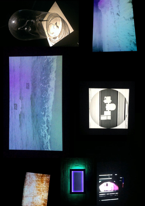 Такаси Макино «Cinéma Concret» (2015) (слева вверху); Exonemo«201703EOF» (2017) (центр, слева); Хараюки Иси«… ……….,» (