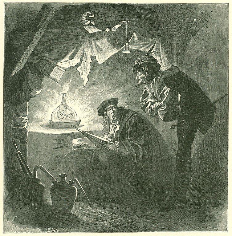Гравюра Франца Симма к «Фаусту» Гете: ученик Фауста Вагнер выводит человечка-гомункула алхимическим путем