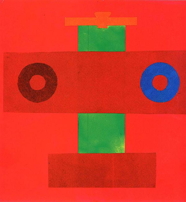 <i>Михаил Чернышов, самолет с кругами, 1961 год. Гуашь, карандаш и коллаж на бумаге, 46 х 60 см.</i>