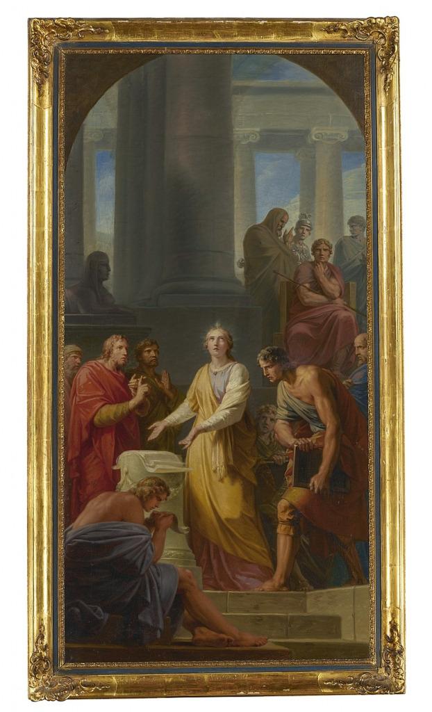 Фюгер, Фридрих Генрих Святая Екатерина спорила с языческими философами перед императором Максенцием. Холст, масло. 110,4х