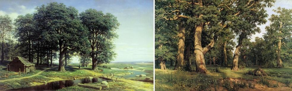 Облик выпасаемых дубрав. Слева: Дубовая роща. М.К. Клодт, 1863. Государственная Третьяковская галерея. Справа: Дубовая ро