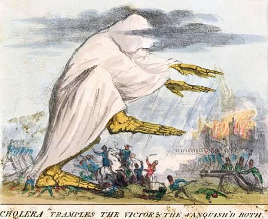Литография 19-го века. Холера изображена как нечто возникающее из дурного воздуха — чёрного облака