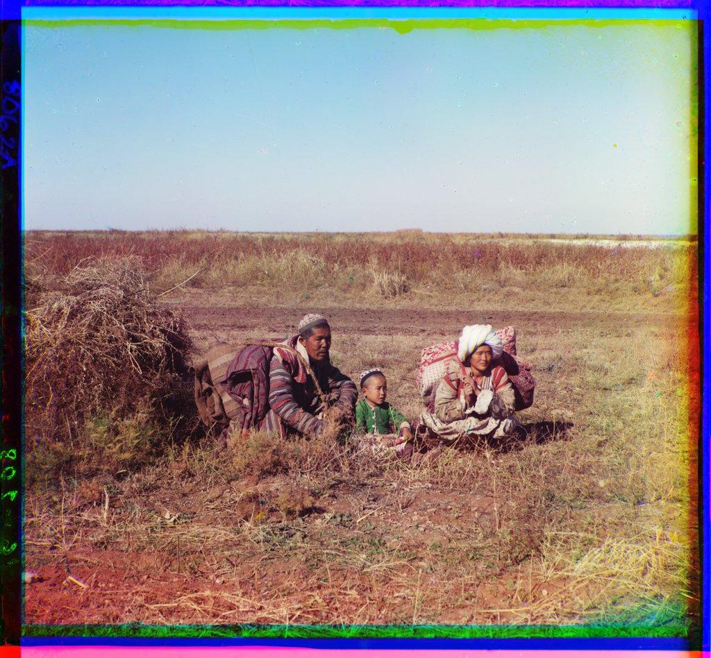 <i>Кочующие киргизы. Голодная степь. Сергей Прокудин-Горский. 1905 год</i>.