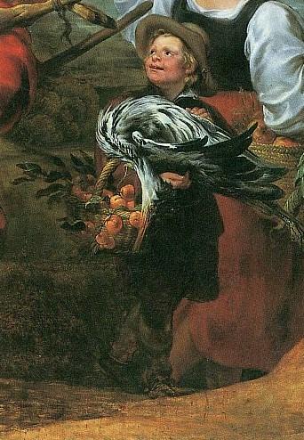 Фрагмент картины Иоганна Бокхорста и Франса Снейдерса.«Крестьяне по дороге на рынок» с изображением мальчика, несущего ца
