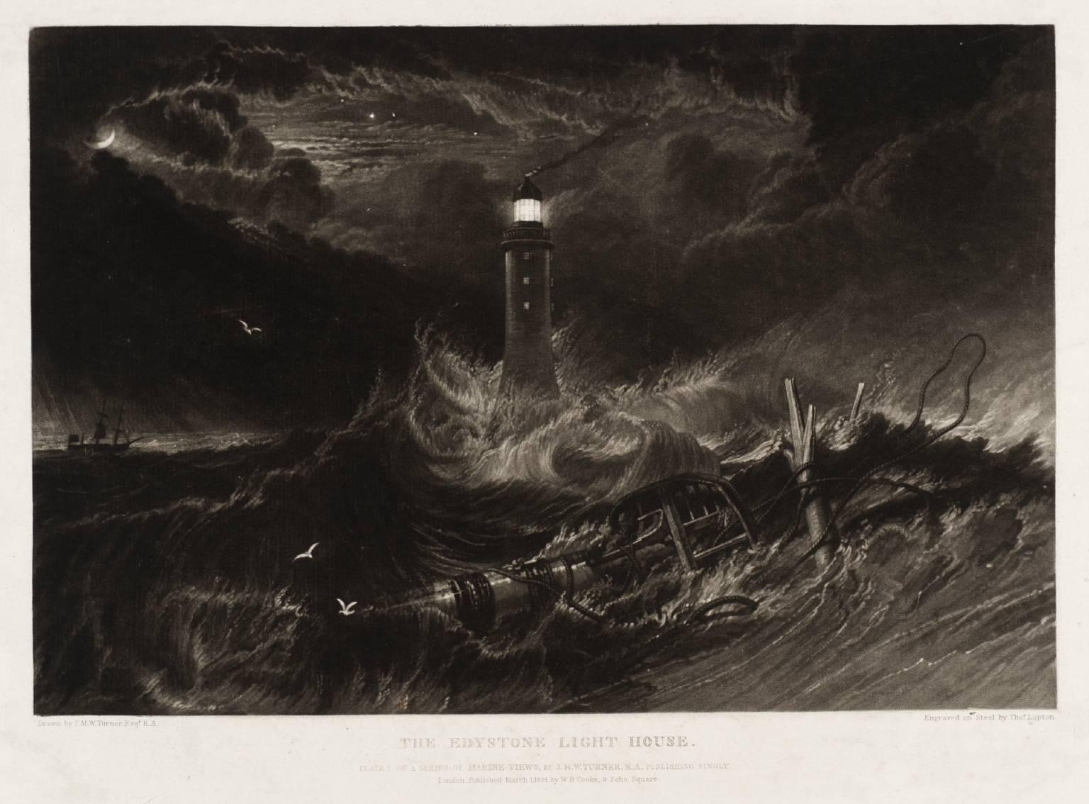 «Эддистонский маяк». Репродукция картины У. Тернера (гравюра), 1824 г.