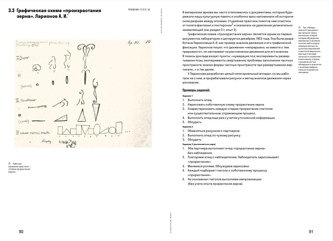 Разворот книги «<a>Опыты хореологии. Руководство по практическому применению танцевального архива</a>» танцевального кооп