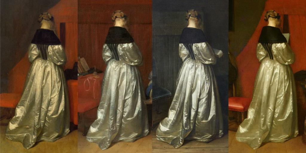 Фотомонтаж различных вариантов образа «девушки в атласном платье» от ГерардаТерборха и его мастерской.