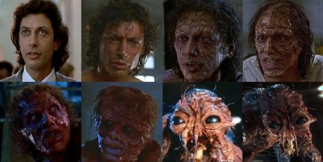 Трансформация главного героя в фильме «Муха». 1986