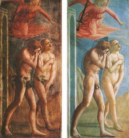 Фреска Мазаччо в капелле Бранкаччи в церкви Санта-Мария-дель-Кармине во Флоренции. Фиговые листы, прикрывающие гениталии