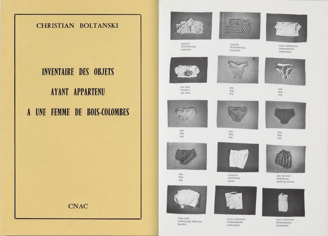Christian Boltanski. Inventaire des objets ayant appartenu à une femme de Bois-Colombes. CNAC, 1974