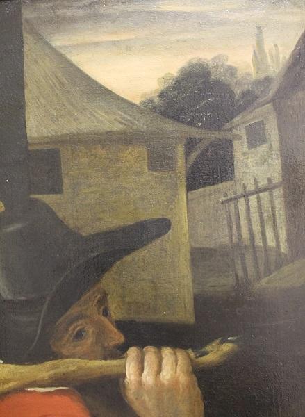 Фрагмент картины мастерской Франса Снейдерса. «Крестьяне по дороге на рынок» с изображением крестьянина и пейзажа в право
