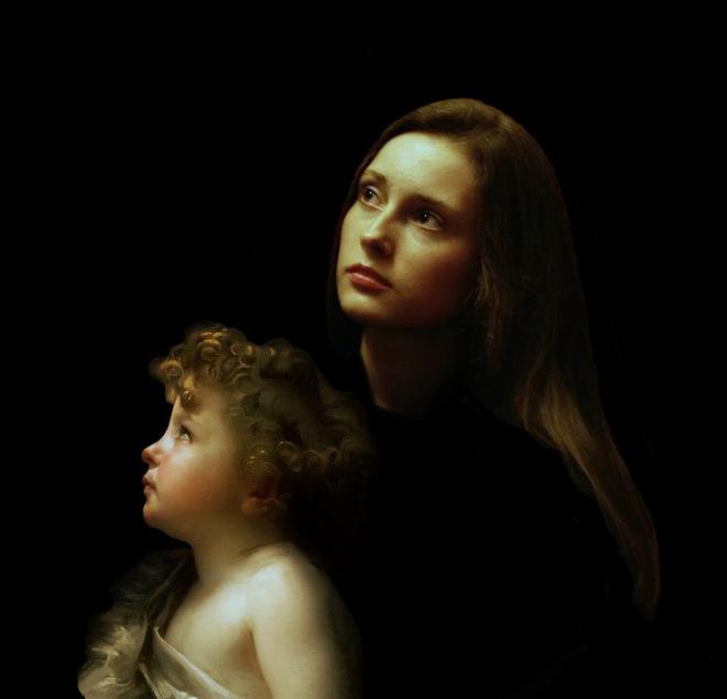 В рамках картины Вильяма Бугро «Юный Иоанн Креститель» и фотоизображения поэтессы Марии Малиновской — автор снимка Натали