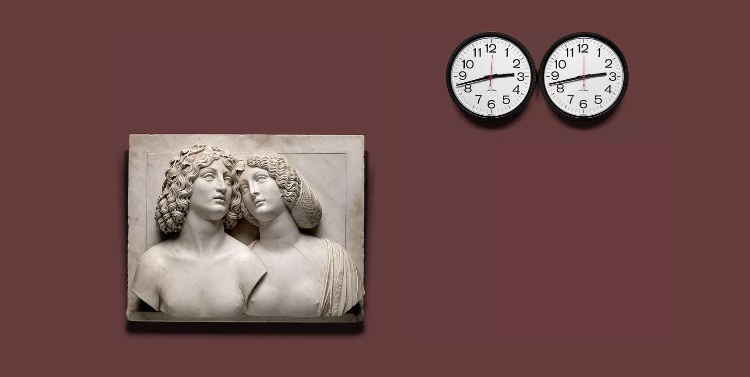Туллио Ломбардо, «Молодая пара», 1505-1510 (слева); Феликс Гонсалес-Торрес, «Без названия» (совершенные влюбленные), 1987