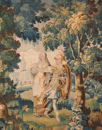 Шпалера «Суд Париса» (фрагмент)Франция, Обюссон, вторая половина XVII в.Шерсть, шелк; шпалерное ткачество 193×183 смБСИИ