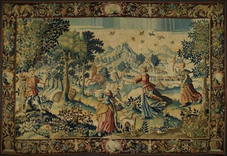 Шпалера «Охота Дианы и Актеона» (фрагмент)Фландрия, Брюгге, ок. 1625 г.Шерсть, шелк. 335×492 смМузей Грютхузе, Брюгге