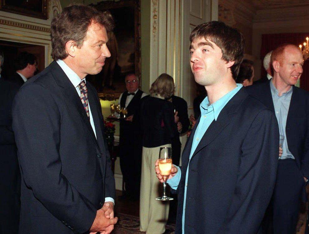 Премьер-министр UK Тони Блэр, Ноэль Галлахер и Алан Макги