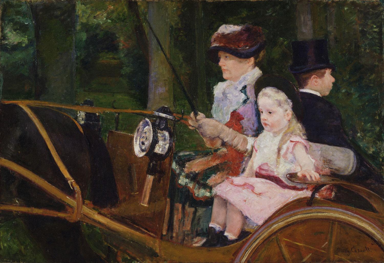 Мэри Кассат. Женщина с ребенком правят повозкой, 1881