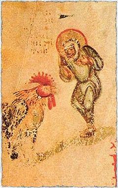 Апостол Петр и петух. Миниатюра из Хлудовской псалтыри. Около 850 года