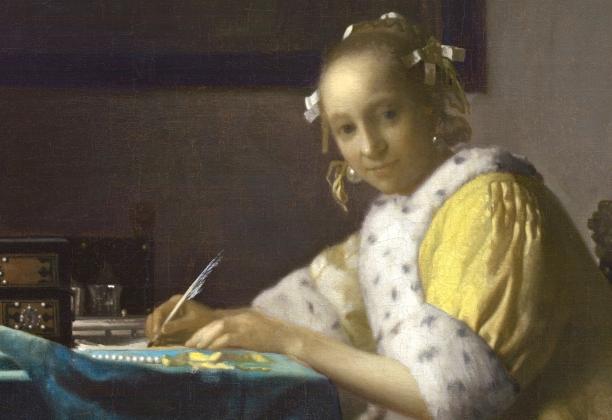 """Ян Вермеер """"Девушка, пишущая письмо"""", 1665-1660 (фрагмент)"""