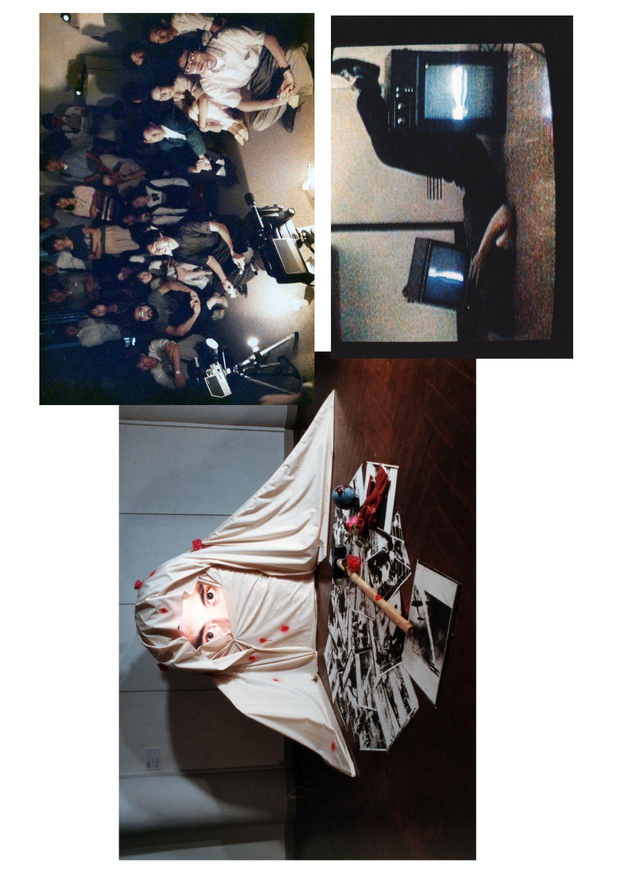 (1) «TV Terrorist» на выставке«Video Cocktail III» в Музее современного искусства Хара в 1986 году. (2) Видеоперформанс