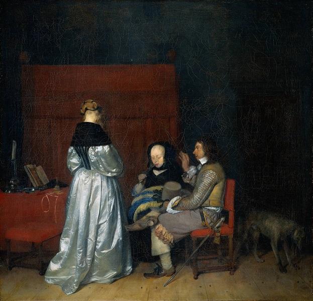 Терборх, Герард Галантная беседа или Отеческое наставление (около1654-1655).Холст, масло. 72х60 см. Берлинская картинная