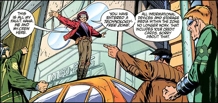Кадр из комикса Transmetropolitan, обычно категоризируемого как «трансгуманистический эпос» (#2 (6)