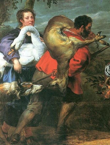 Фрагмент картины Иоганна Бокхорста и Франса Снейдерса. «Крестьяне по дороге на рынок» с изображением крестьянина, несущег