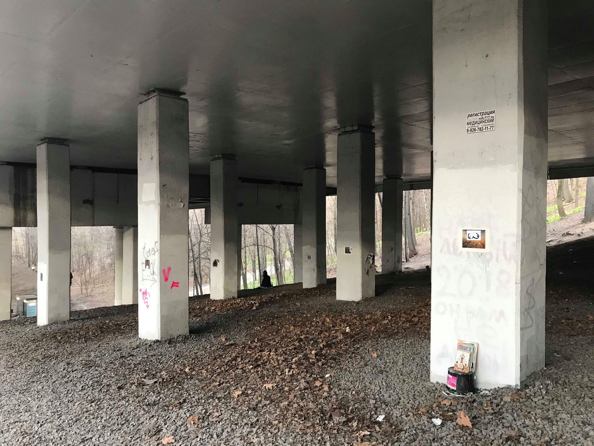 Работа Дмитрия Хворостов на выставкеDungeons'n'Stuff «2. прикреплённое местоположение». Мост под станцией метро Воробьев