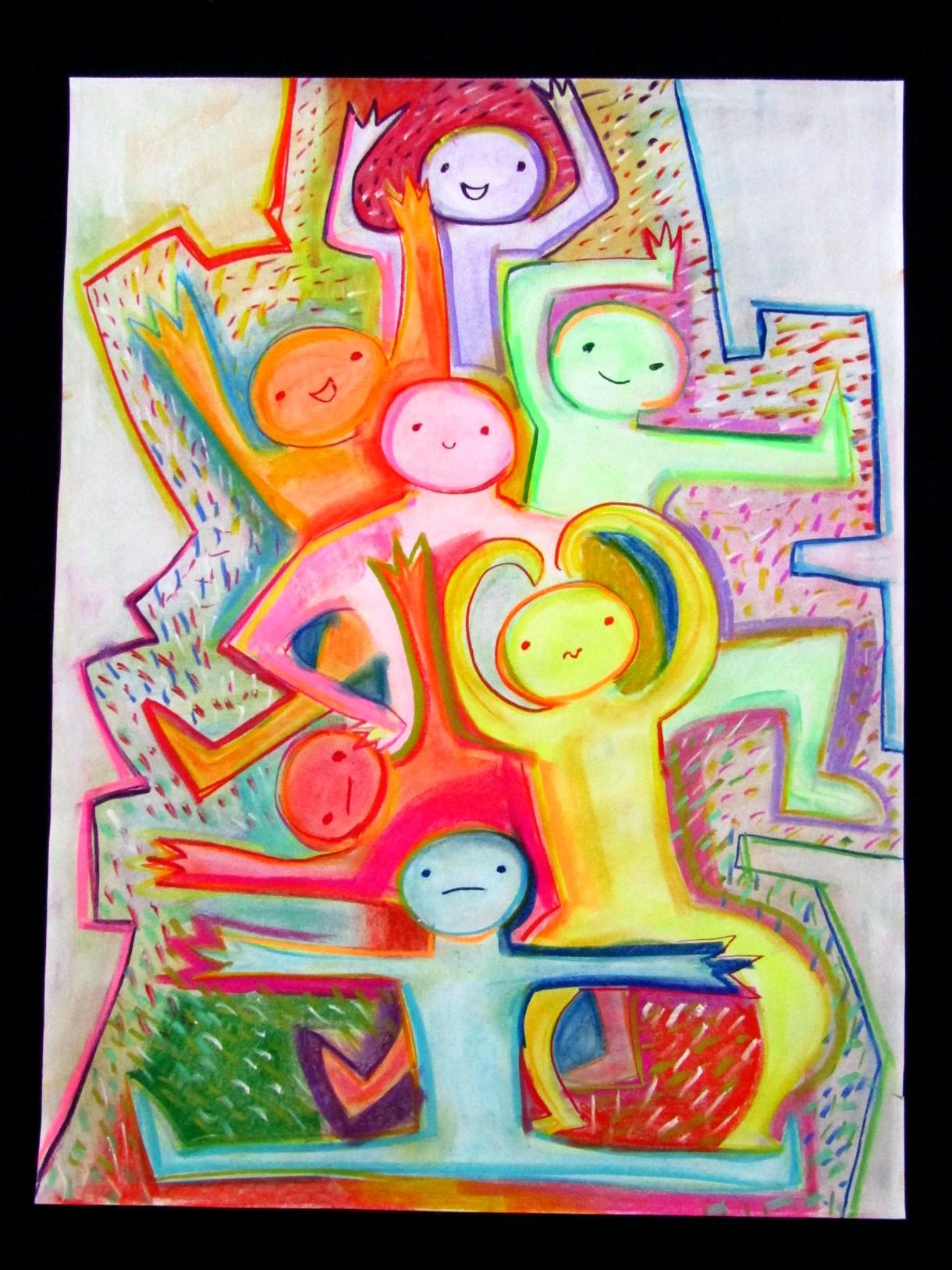 На рисунке изображены 7 фигур людей. Все они разных цветов и в разных позах. Внизу на шпагате сидит голубой человек. Над