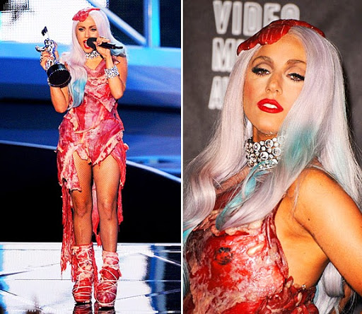 Figure 1: American pop singer Lady Gaga wearing a meat dress for the MTV Video Music Award, Los Angeles, 2010 (Source: ht