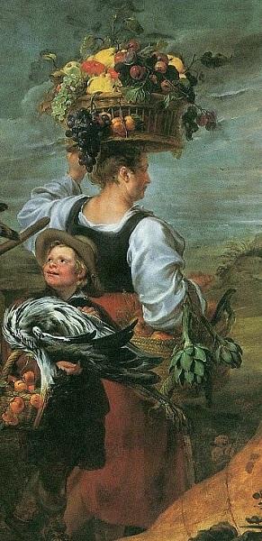 Фрагмент картины Иоганна Бокхорста и Франса Снейдерса. «Крестьяне по дороге на рынок» с изображением крестьянки, несущей