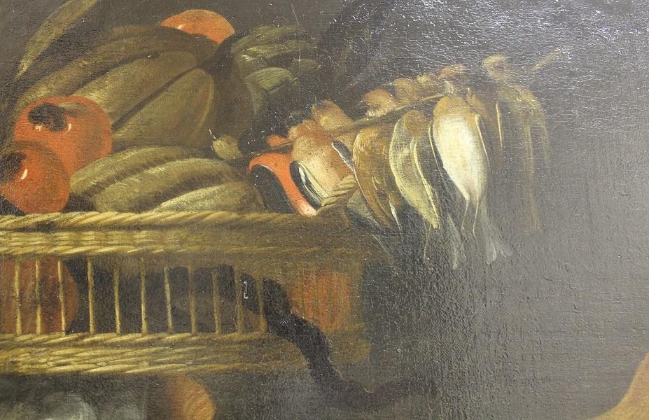 Фрагмент картины мастерской Франса Снейдерса. «Крестьяне по дороге на рынок» с изображением корзины на голове у крестьянк