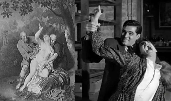 Слева: «Сусанна и старцы» Франса ван Мириса-ст., справа кадр из фильма «Психо»