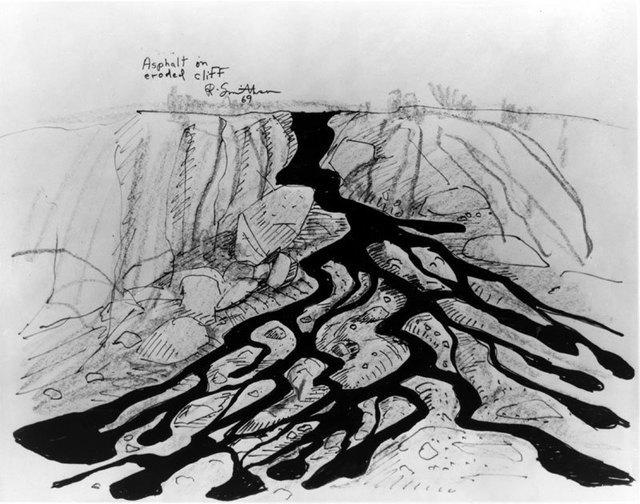 Роберт Смитсон. Эскиз работы «Асфальт на эродированном утесе», 1969.