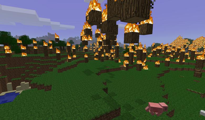 Скриншот Minecraft: лесной пожар