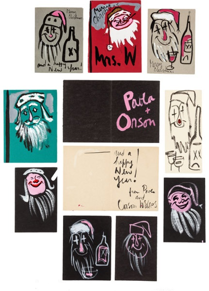 Лицевые и внутренние стороны рождественских открыток, нарисованных Орсоном Уэллсом в разные годы
