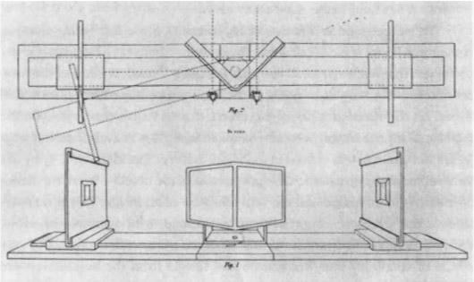 Схема работы стереоскопа Уитстона.