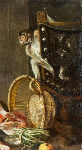Фрагмент картины Франса Снейдерса «Собаки на кухне» с изображением португальского стула и обезьянки на нём в правой части