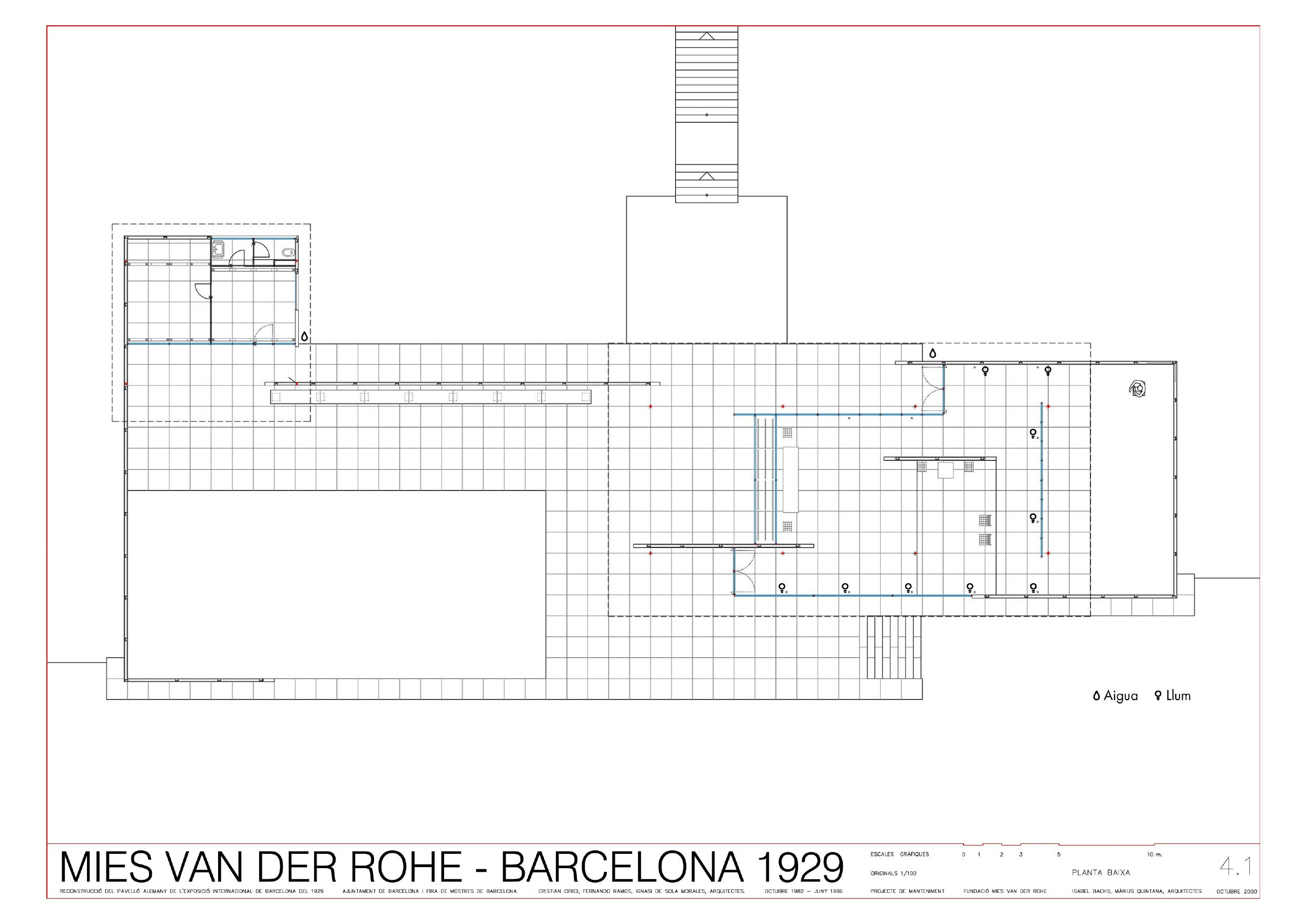 План павильона Германии в Барселоне, 1929.