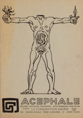 Обложка журнала Ацефал (изд.1936-1939) под редакцией Ж. Батая. Автор рисунка Андре Массон