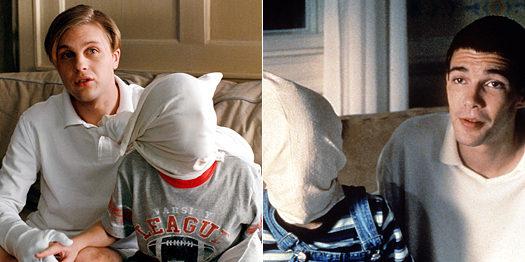 """Кадры из двух версий """"Забавных игр"""": слева авторемейк 2007 г., справа оригинальная версия 1997 г. Взято с сайтаwww.glamo"""