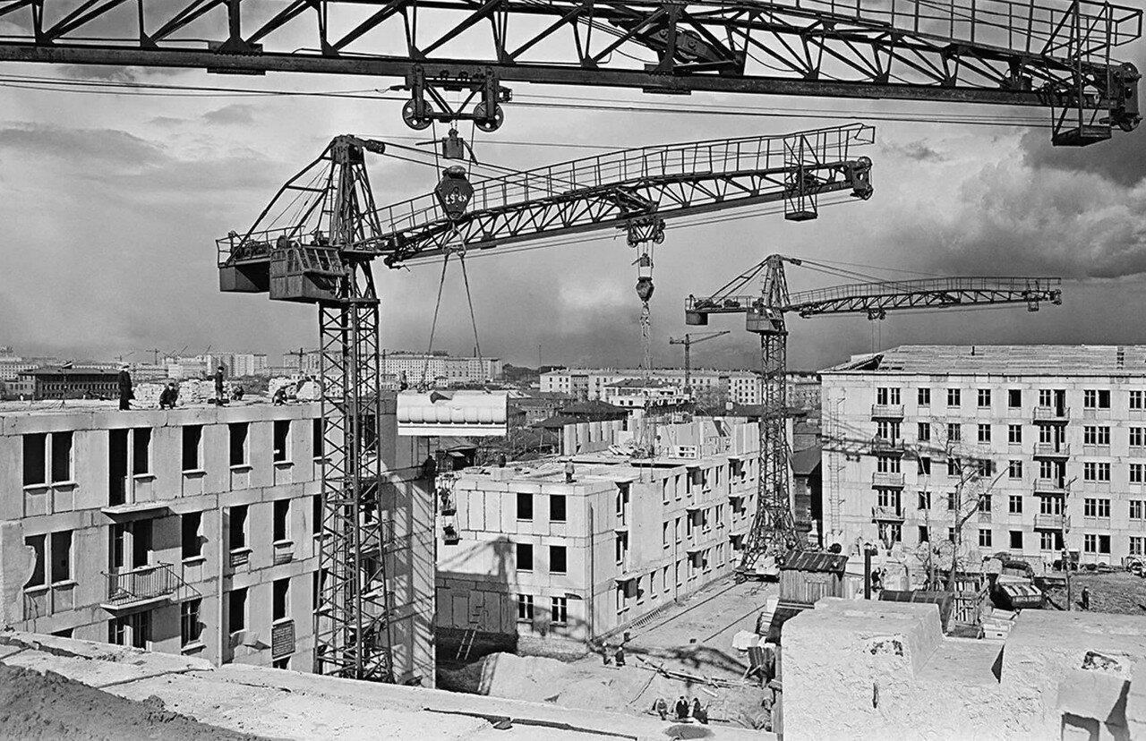 Строительство 9-го квартала Марьиной Рощи (Москва), 1958 г.