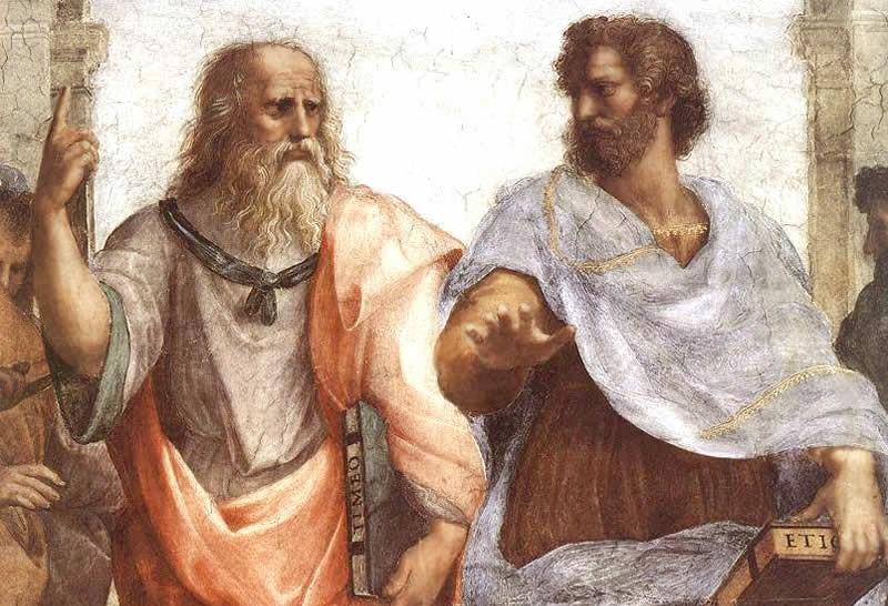 Платон и Аристотель. Фрагмент фрески «Афинская школа» работы Рафаэля в станце делла Сеньятура Ватиканского дворца